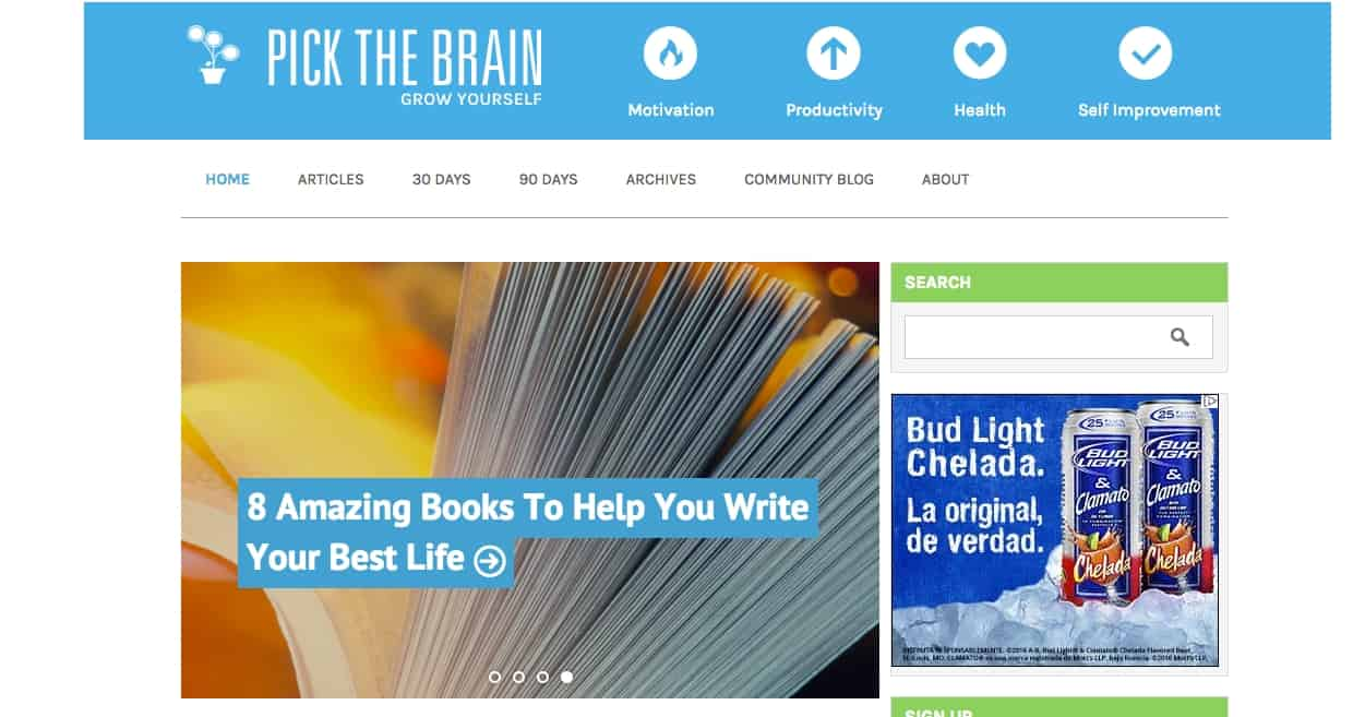 Writing contributor to pickthebrain.com