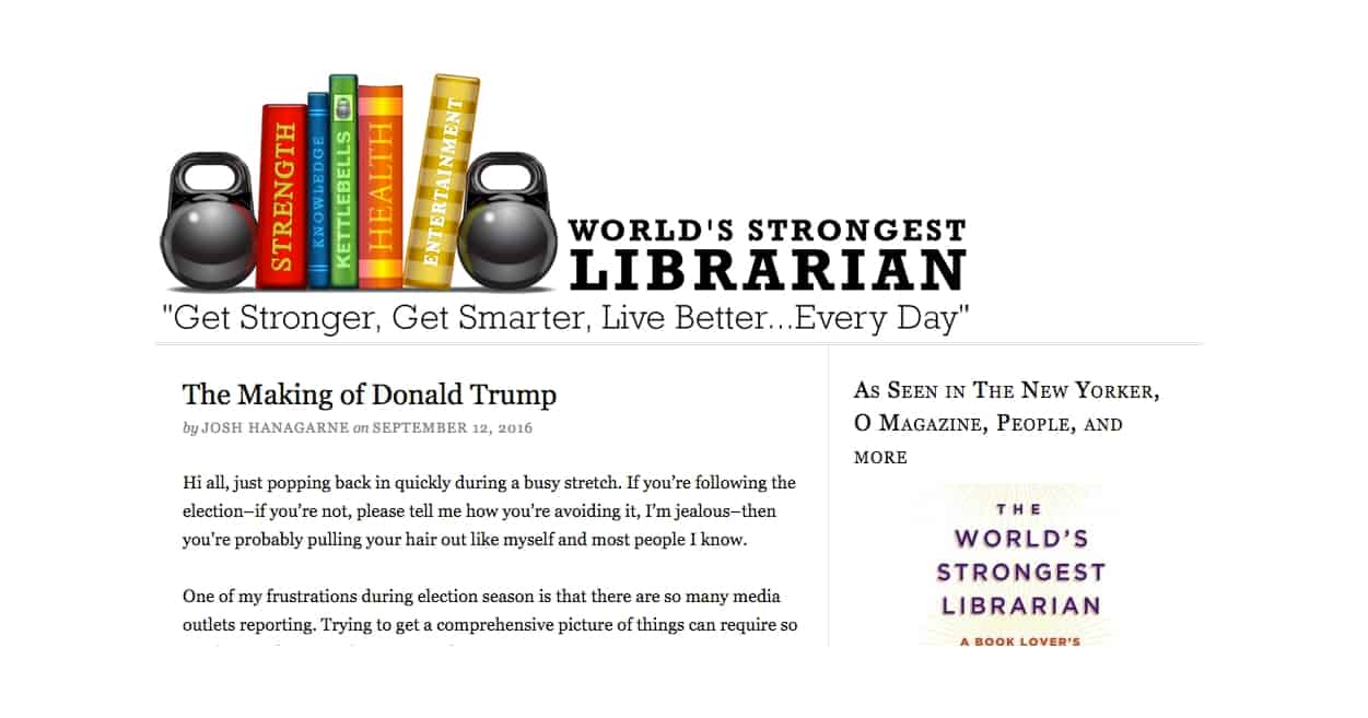 Contributing writer to worldsstrongestlibrarian.com