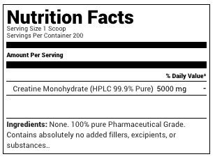 Nutrakey Creatine Monohydrate 1000 Grams Supplement Facts
